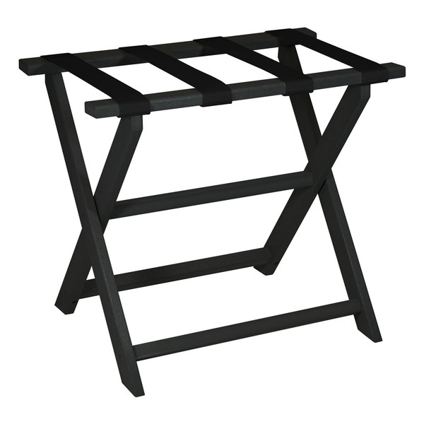 Earth Friendly Black Folding Luggage Rack With Black Straps 383082 By Homeroots