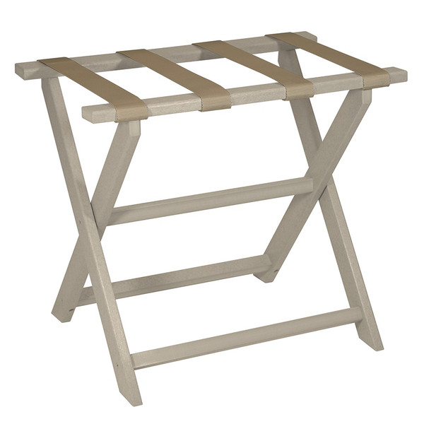 Earth Friendly Taupe Folding Luggage Rack With Dark Tan Straps 383087 By Homeroots
