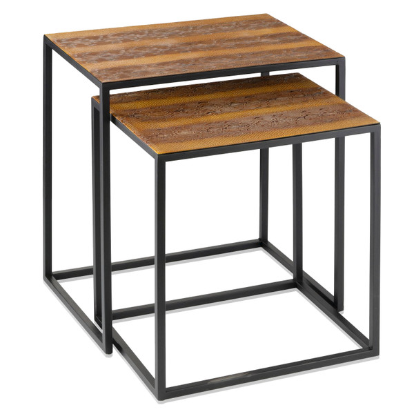 (Set Of 2) Rectangular Black Powder Coated Frame And Rattlesnake Faux Leather Top Nesting End Tables 383761 By Homeroots