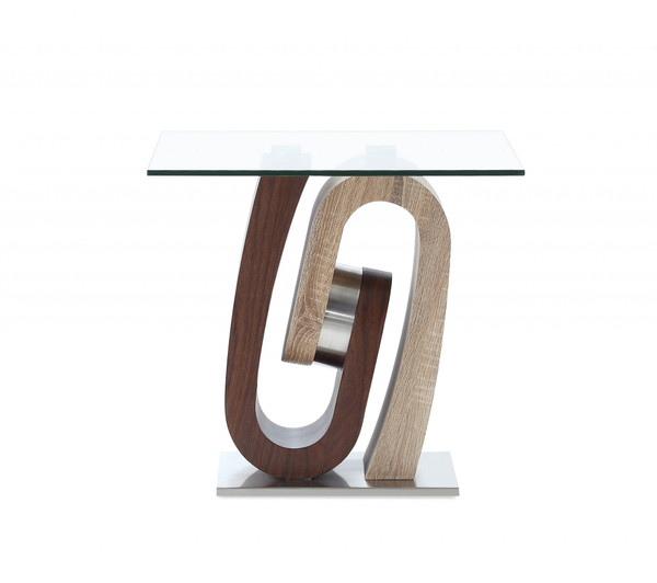 Oak And Walnut Ultra Modern End Table With Glass Top 383813 By Homeroots