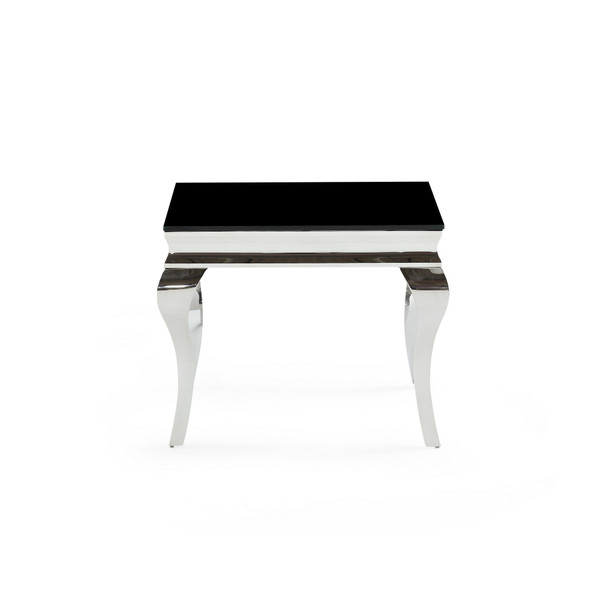 Silver Tone Black Glass Top End Table 383815 By Homeroots