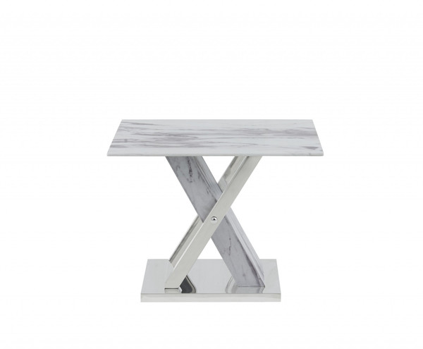 Elegant Marble Glass Top End Table 383821 By Homeroots