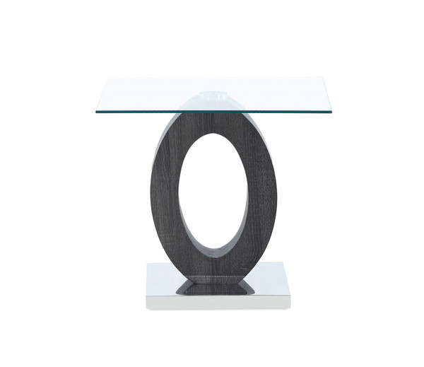 Grey Tone Oval Design Support End Table With Glass Top 383880 By Homeroots