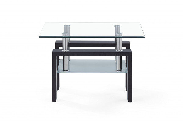 Dark Walnut Legs End Table With Rectangular Clear Glass Top 383884 By Homeroots