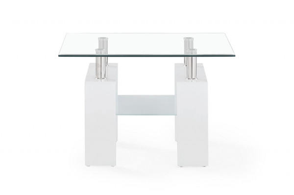 White Glossy Leg End Table With Rectangular Clear Glass Top 383886 By Homeroots