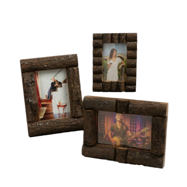 """Set Of Three 4"""" X 6"""" Log Cabin Style Picture Frames 384103 By Homeroots"""
