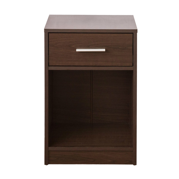 Classic Walnut Brown Finish One Drawer Night Stand Or End Table 384464 By Homeroots