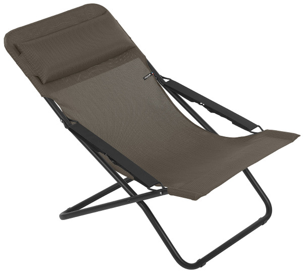 Folding Sling Chair - Black Steel Frame - Wood Fabric 320619 By Homeroots