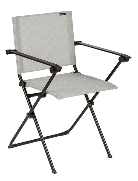 Folding Armchair - Black Steel Frame - Galet Duo Fabric 320637 By Homeroots