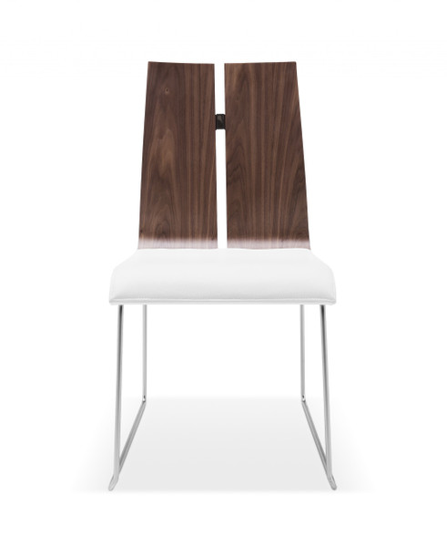 Set Of 2 Dining Chair. Natural Walnut Veneer White Faux Leather. Metal Frame With Brushed Nickel 320734 By Homeroots