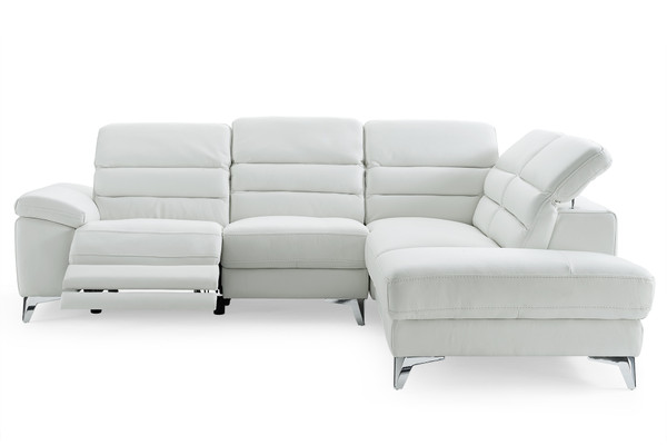 Sectional, Chaise On Right When Facing, White Top Grain Italian Leather 320882 By Homeroots