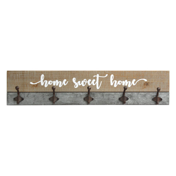 """29.92"""" X 2.95"""" X 6.3"""" Distressed Wood Rustic Home Sweet Home Hooks 321270 By Homeroots"""