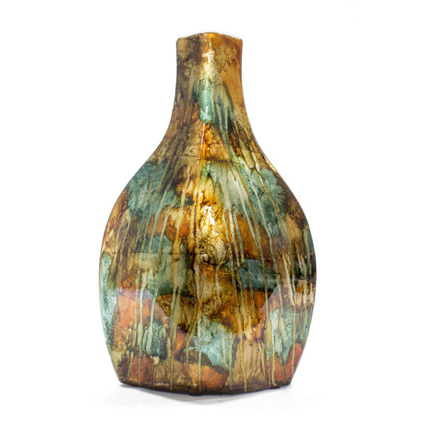"""16"""" Copper, Red, And Gold Ceramic Table Vase 328610 By Homeroots"""