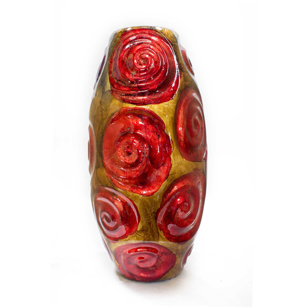 """14"""" Copper, Red, And Gold Ceramic Table Vase 328621 By Homeroots"""