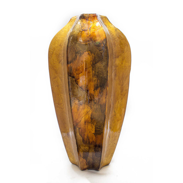 """16"""" Gold, Copper, And Brown Ceramic Table Vase 328633 By Homeroots"""