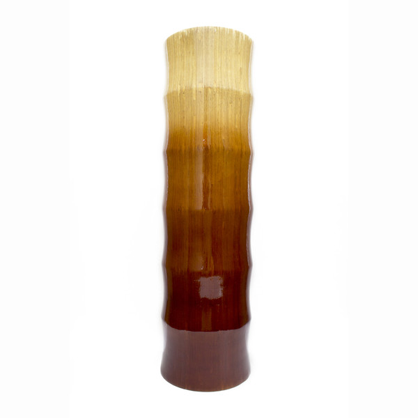 """24"""" Turquoise, Copper, And Bronze Bamboo Chute Vase With An Ombre Fade 328640 By Homeroots"""