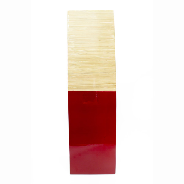 """24"""" Natural And Red Wood Bamboo Vase With 2 Tones 328650 By Homeroots"""