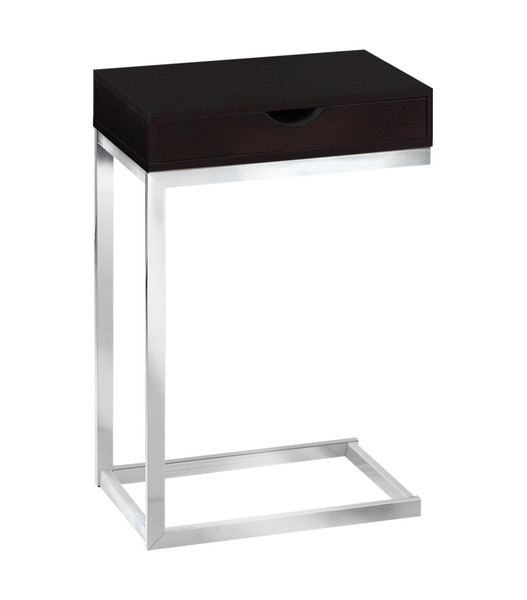 "10.25"" X 15.75"" X 24.5"" Cappuccino, Particle Board, Metal - Accent Table 332981 By Homeroots"