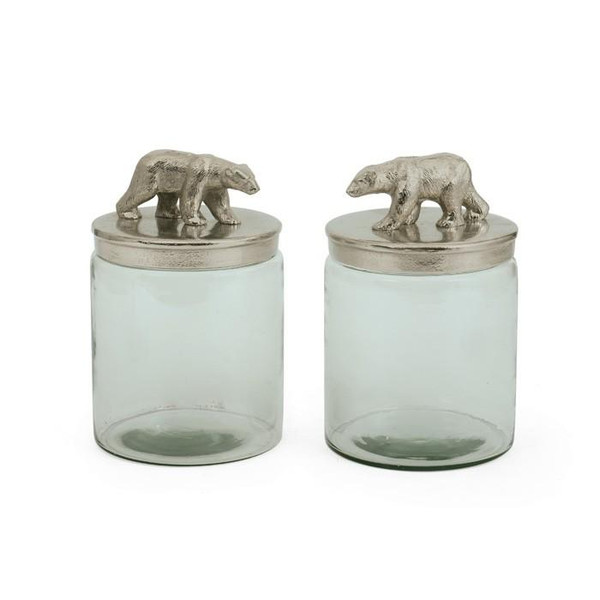 2 Piece Brushed Hand Etched Jars With Nickel Lids of Bears