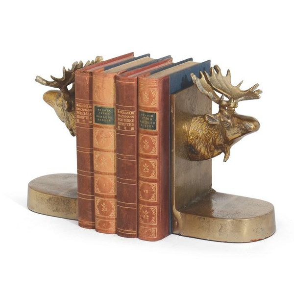 2 Piece Brushed Moose Bookends - Brass - (Pack of 2)