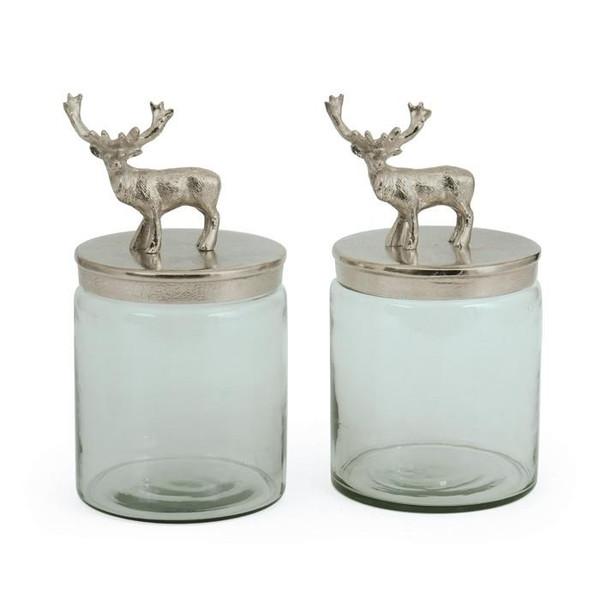 2 Piece Brushed Hand Etched Jars With Nickel Lids of Deers