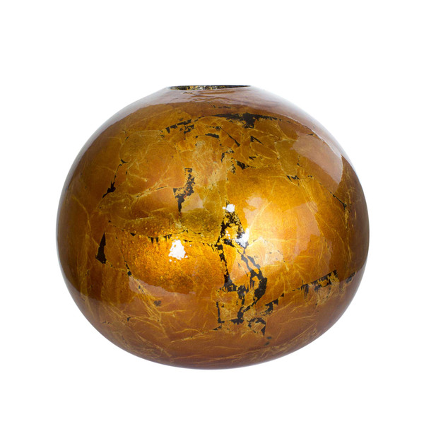 """9"""" X 9"""" X 8"""" Copper Ceramic Foiled & Lacquered Spherical Table Vase 354452 By Homeroots"""
