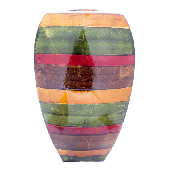 """10"""" X 7"""" X 18"""" Green Red Brown Copper Ceramic Lacquered Striped Large Tapered Modern Vase 354511 By Homeroots"""