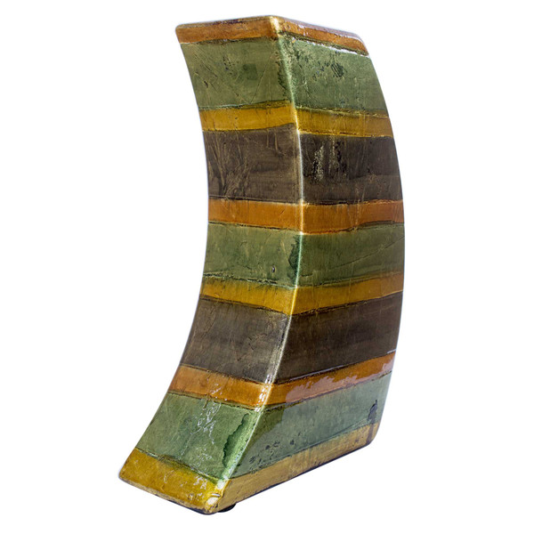 """7"""" X 3"""" X 10"""" Orange Green Amber Brown Ceramic Lacquered Striped Modern Vase 354513 By Homeroots"""