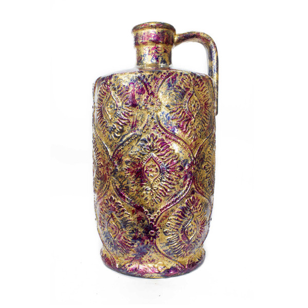 """8"""" X 8"""" X 15"""" Amber Pink Purple Ceramic Foiled & Lacquered Damask Stamped Jug Vase 354533 By Homeroots"""