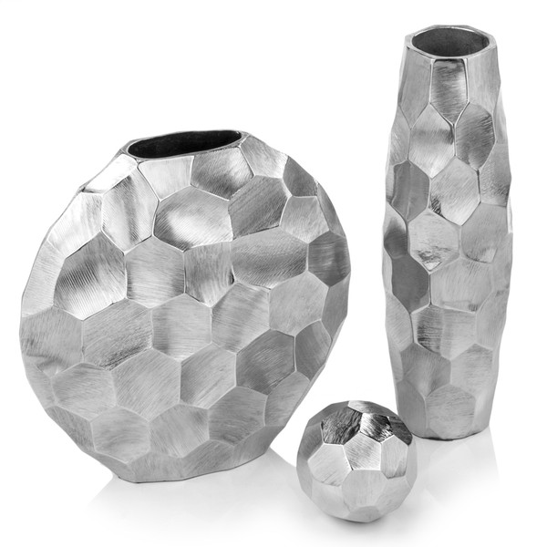 """2"""" X 12"""" X 12"""" Rough Silver, Round - Vase 354636 By Homeroots"""