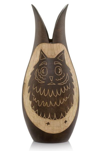 "7"" X 7"" X 14"" Ebony/Natural Wood - Owl Vase 354893 By Homeroots"