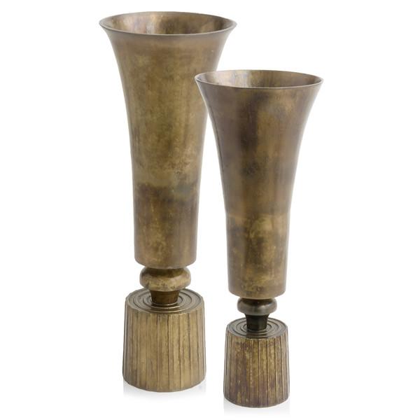 "9.5"" X 9.5"" X 26.5"" Regal, Large, Vintage Brass - Vase 354949 By Homeroots"