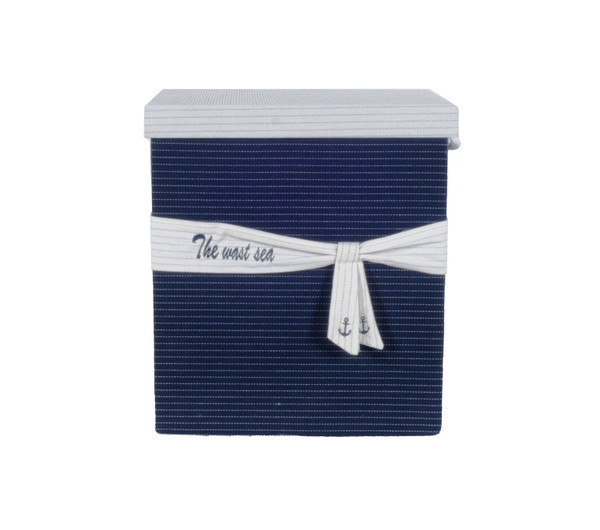 """13.5"""" X 17"""" X 22.5"""" Blue Fabric, Basket With Bow - Decoration Set Of 5 364158 By Homeroots"""