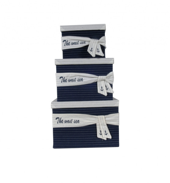 """11.5"""" X 12"""" X 8.5"""" White, Blue, Fabric -Boxes With Cover Set Of 3 364159 By Homeroots"""