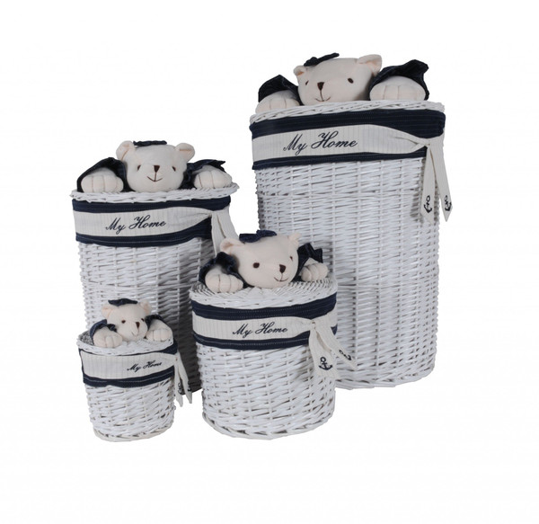 """17.5"""" X 17.5"""" X 28"""" White, Blue,Oval, Willow, Bear Design - Basket Set Of 4 364164 By Homeroots"""