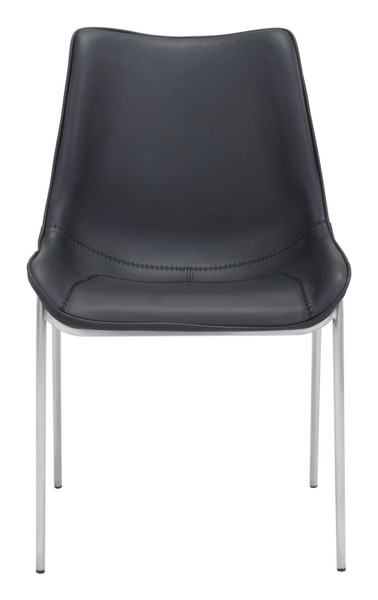 """21.3"""" X 23.6"""" X 35.4"""" Black, Leatherette, Brushed Stainless Steel, Dining Chair - Set Of 2 364570 By Homeroots"""