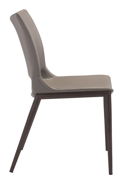 """21.3"""" X 22.2"""" X 35"""" Gray & Walnut, Leatherette, Brushed Stainless Steel, Dining Chair - Set Of 2 364581 By Homeroots"""