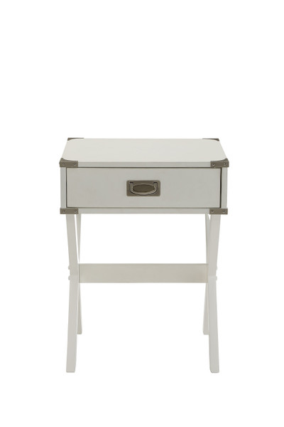 """18"""" X 16"""" X 24"""" White Solid Wood Leg End Table 286308 By Homeroots"""