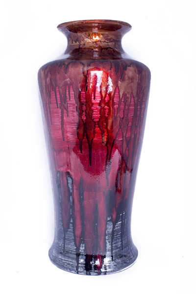 """24"""" Foiled & Lacquered Ceramic Floor Vase - Red And Gray 319663 By Homeroots"""