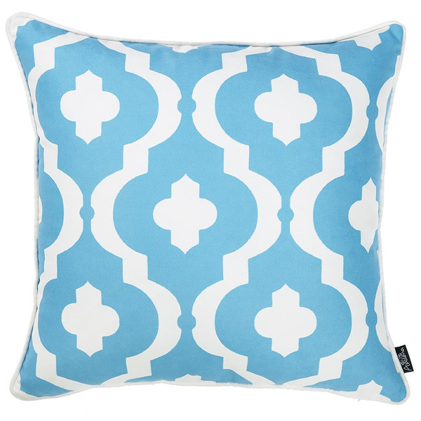 """18""""X18"""" Marine Moroccon Stars Decorative Throw Pillow Cover Printed 355304 By Homeroots"""