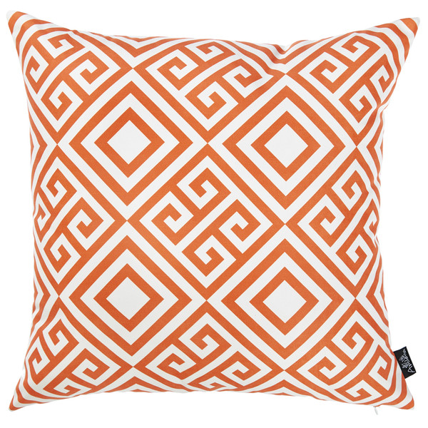 """18""""X 18""""Orange Tropical Greek Printed Decorative Throw Pillow Cover 355284 By Homeroots"""