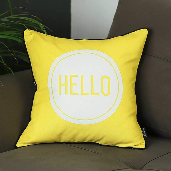 """18""""X18"""" Scandi Square Hello Printed Decorative Throw Pillow Cover 355255 By Homeroots"""
