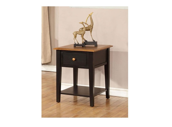 """20"""" X 24"""" X 26"""" Harvest Black Hardwood End Table 356167 By Homeroots"""