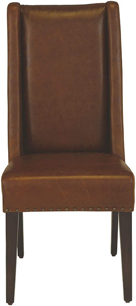 """20.5"""" X 22.5"""" X 44.5"""" Leather And Wood Brown Modern Contemporary Dining Chair 355679 By Homeroots"""