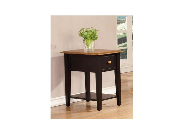 """16"""" X 24"""" X 25"""" Harvest Black Hardwood End Table 356164 By Homeroots"""