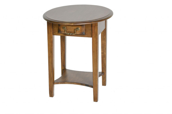 """26"""" X 20"""" X 24"""" Burnished Walnut Hardwood Rounded End Table With Drawer 356113 By Homeroots"""