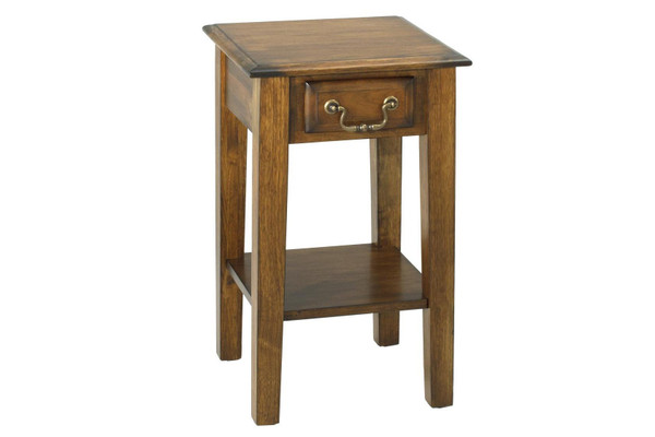 """15"""" X 15"""" X 24"""" Burnished Walnut Hardwood Squared End Table With Drawer 356111 By Homeroots"""