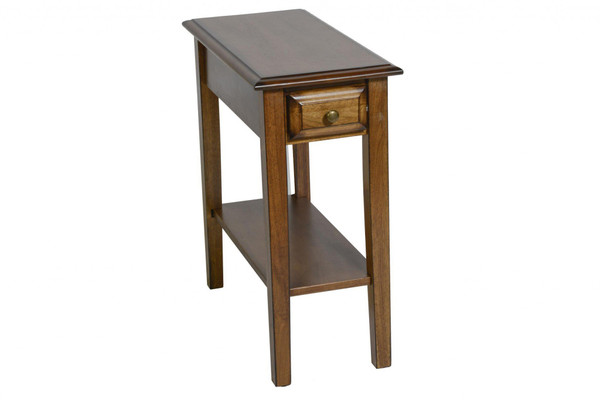 """23"""" X 11"""" X 24"""" Burnished Walnut Hardwood Rectangular End Table With Drawer 356112 By Homeroots"""