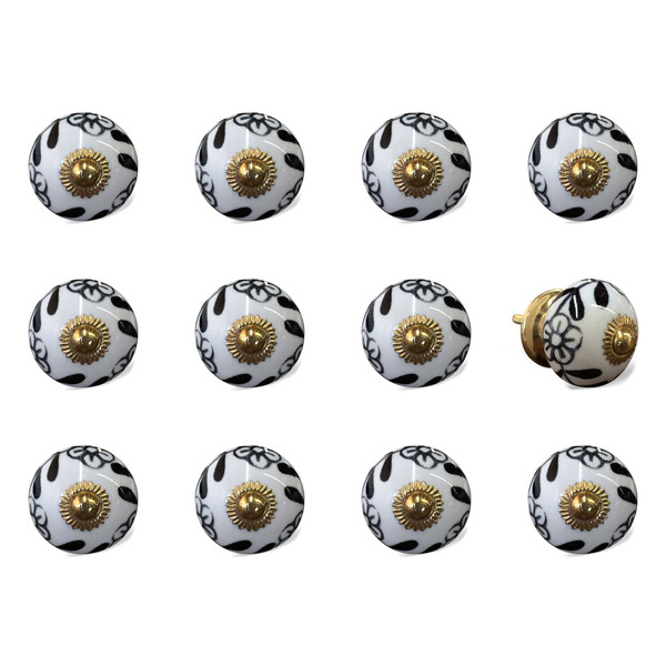 """1.5"""" X 1.5"""" X 1.5"""" Ceramic/Metal Multicolor 12 Pack Knob 358102 By Homeroots"""
