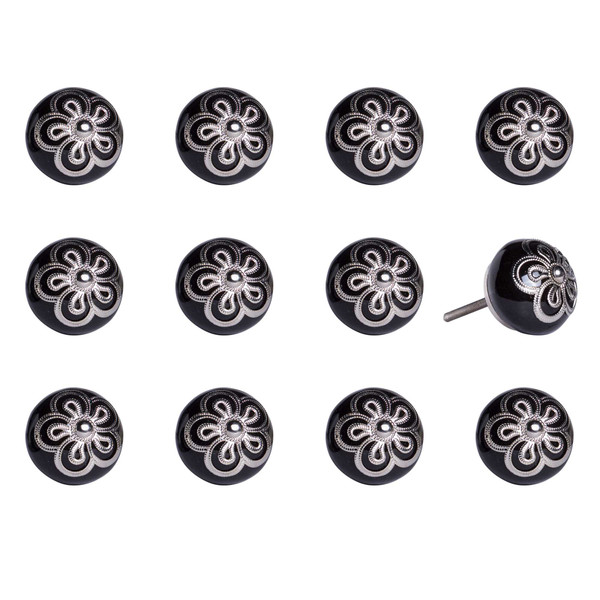 """1.5"""" X 1.5"""" X 1.5"""" Ceramic/Metal Multicolor 12 Pack Knob 358081 By Homeroots"""
